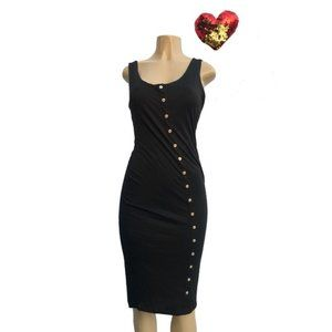 Black Lined Knit Tank Dress with Cream Buttons